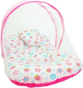 Aayat Kids Skin Friendly Well Cushioned Strawberry Printed Multi Luxury 0 to 12 months Baby mosquito Net Bed Model V1
