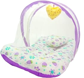 Aayat Kids Skin Friendly Well Cushioned Strawberry Printed Multi Luxury 0 to 12 months Baby mosquito Net Bed Model V10