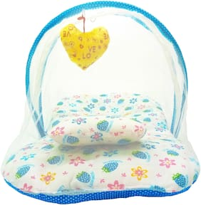 Aayat Kids Skin Friendly Well Cushioned Strawberry Printed Multi Luxury 0 to 3 months Baby mosquito Net Bed Model A8