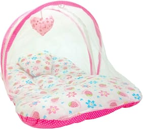 Aayat Kids Skin Friendly Well Cushioned Strawberry Printed Multi Luxury 0 to 3 months Baby mosquito Net Bed Model A18