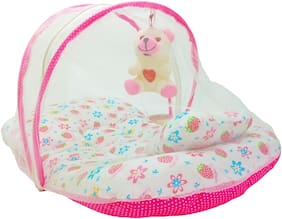 Aayat Kids Skin Friendly Well Cushioned Strawberry Printed Multi Luxury 0 to 12 months Baby mosquito Net Bed Model V7