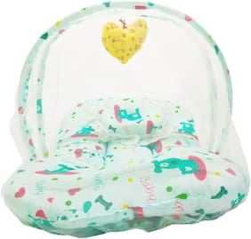 Aayat Kids Skin Friendly Well Cushioned Cute Puppy Printed Multi Luxury 0 to 3 months Baby mosquito Net Bed Model D15