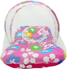 Aayat Kids Skin Friendly Well Cushioned Flower Printed Multi Luxury 0 to 12 months Baby mosquito Net Bed Model D13