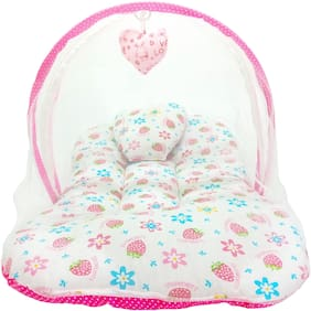 Aayat Kids Skin Friendly Well Cushioned Strawberry Printed Multi Luxury 0 to 3 months Baby mosquito Net Bed Model A20