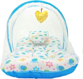 Aayat Kids Skin Friendly Well Cushioned Strawberry Printed Multi Luxury 0 to 3 months Baby mosquito Net Bed Model A13