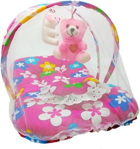 Aayat Kids Skin Friendly Well Cushioned Flower Printed Multi Luxury 0 to 3 months Baby mosquito Net Bed Model D18