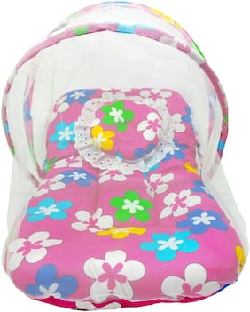 Aayat Kids Skin Friendly Well Cushioned Flower Printed Multi Luxury 0 to 3 months Baby mosquito Net Bed Model D5