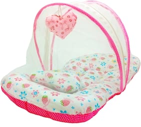 Aayat Kids Skin Friendly Well Cushioned Strawberry Printed Multi Luxury 0 to 12 months Baby mosquito Net Bed Model V14