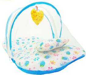 Aayat Kids Skin Friendly Well Cushioned Strawberry Printed Multi Luxury 0 to 3 months Baby mosquito Net Bed Model A7