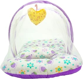 Aayat Kids Skin Friendly Well Cushioned Strawberry Printed Multi Luxury 0 to 3 months Baby mosquito Net Bed Model A9