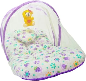 Aayat Kids Skin Friendly Well Cushioned Strawberry Printed Multi Luxury 0 to 12 months Baby mosquito Net Bed Model V20