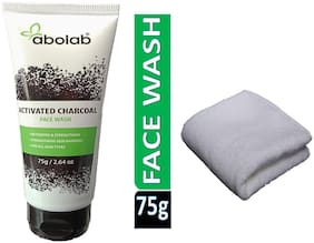 ABOLAB ACTIVATED-CHARCOAL FACE WASH-75g Buy and Get One White Face Towel