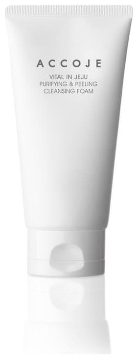Accoje Vital In Jeju Best Korean Skin Purifying & Peeling Cleansing Foam To Gel, Natural Skin Care, Parabens And Alcohol Free (150 ml)