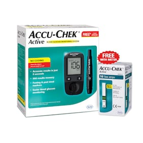 Accu-Chek Active Blood Glucometer (Free 10 test Strip)/Sugar Monitor/Glucose Monitor