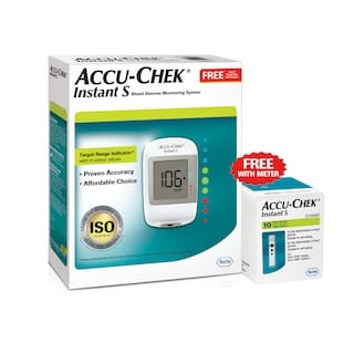 Accu-Chek Instant S Glucometer (With Free 10 Strips) +Accu-Chek Instant S 50 Strips/Sugar Monitor/Glucose Monitor/Sugar Machine/Sugar Test Machine/Glucose/Gluco meter