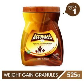 Accumass Weight Gain Powder 525gm, Chocolate Flavor, Pack of 1