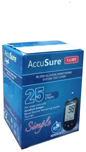 AccuSure Simpel Test Strips 25 Strips Pack of 1