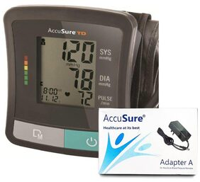 AccuSure TD-1209, Automatic Upper Arm Blood Pressure Monitor with Power Adapter Bp Monitor (Black)