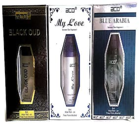 aco PERFUMES aco BLACK OUD  MY LOVE  BLUE AREBIA  8ML attar roll on pack of 3 Floral Attar (Citrus)