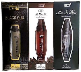 aco PERFUMES aco BLACK OUD  OUD AL MALIK  MEN INBLUE  8ML attar roll on pack of 3 Floral Attar (Citrus)