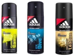 Adidas Deodrants(Pure Game,Victory League & Ice Dive)(96g each)(Pack of 3)