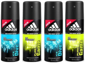 Adidas Pack of 4 Deodrants(Pure Game & Ice Dive)(96gm each)
