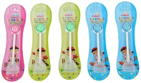 Adore Mighty Raju Kid's White Tongue Cleaner with Safety Case and Candy Design - Pack of 5