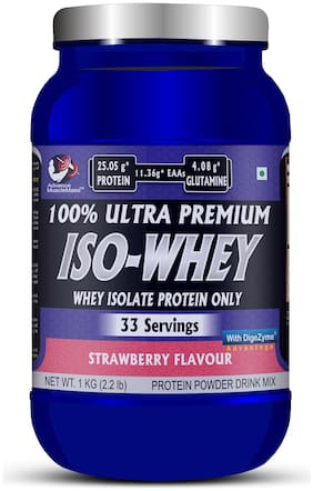 Advance MuscleMass Whey Isolate with Digestive Enzyme Blend ( Strawberry 1 kg )