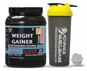 Advance MuscleMass Weight Gainer with Digestive enzymes  5.1 G Protein Lab tested Raw Whey from USA  (Strawberry 1 Kg (2.2 lbs) with Shaker 700 ml