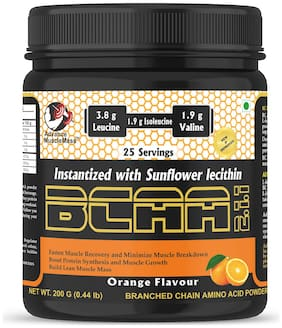 Advance MuscleMass BCAA 2 : 1 : 1 Energy drink for Workout (Orange Flavour  200 GM / 0.44 lb)