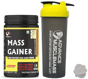 Advance MuscleMass Mass Gainer with Enzyme Blend |7.15 G Protein|Lab tested|Raw Whey from USA| ( Chocolate Flavour | 500 G (1.1 lb) with Shaker 700 ml