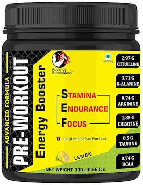 Advance MuscleMass Preworkout Supplement with advantage of BCAA/ Citrulline/ B-Alanine/ Arginine/ Creatine/ Taurine ( Lemon 300g | 0.66 lbs)
