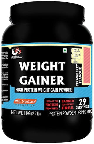 Advance MuscleMass Weight Gainer with digestive enzymes(Strawberry;1 kg)