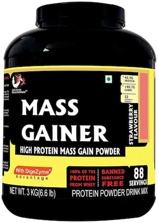 Advance MuscleMass Mass Gainer with digestive enzymes(Strawberry;3 kg)