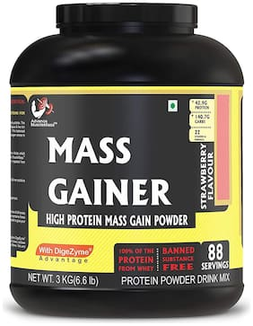 Advance MuscleMass Mass Gainer with Digestive enzymes  24.3 g protein Lab tested Raw Whey from USA  Strawberry 3 Kg (6.6 lbs)