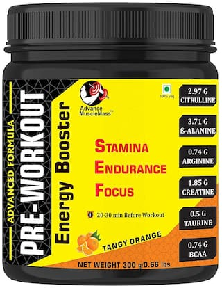 Advance MuscleMass Preworkout Supplement with advantage of BCAA/ Citrulline/ B-Alanine/ Arginine/ Creatine/ Taurine ( Orange 300g | 0.66 lbs)