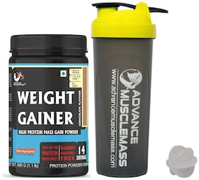 Advance MuscleMass Weight Gainer with Enzyme Blend 5.1 G Protein Lab tested Raw Whey from USA  ( Chocolate Flavour   500 G (1.1 lb) with Shaker 700 ml