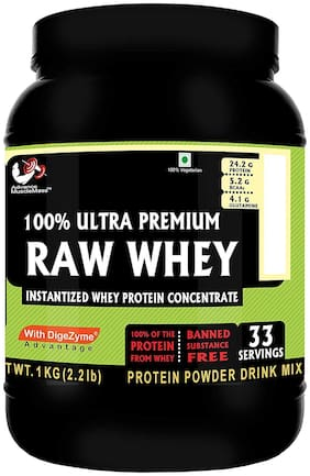 Advance Musclemass 100% Raw Whey Protein Supplement Powder (Unflavoured) 1 Kg 2.2 Lb (33 Servings) With Digezymes