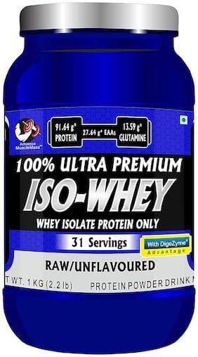 Advance MuscleMass Raw Whey Protein Isolate 90 % with Digestive Enzyme Blend ( Unflavoured  1kg / 2.2 lbs)