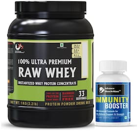 Advance MuscleMass Raw Whey Protein Concentrate with Enzyme blend 24.2 g protein Lab tested Raw Whey from USA Unflavoured 1 Kg (2.2 lb) with Immunity Booster