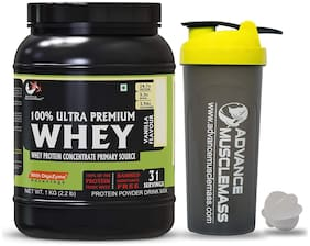 Advance MuscleMass Whey Protein Concentrate with Digestive Enzyme Blend ( Vanilla 1 Kg ) with Shaker 700 ml