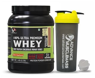 Advance MuscleMass Whey Protein Concentrate With Enzyme Blend |24.7 g protein|Lab tested|Raw Whey from USA| Chocolate 1 Kg (2.2 lb) with Shaker 700 ml