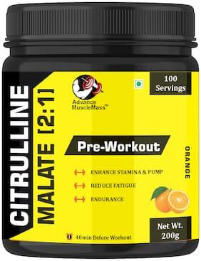 Advance MuscleMass Citrulline Malate 2:1 Orange Flavour Preworkout Supplement 200g (Pack Of 1)