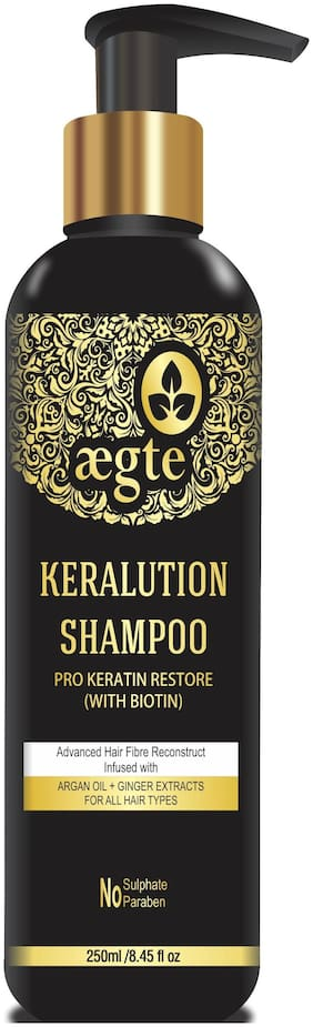 Aegte Keralution Shampoo Pro-Keratin Restore (With Biotin) for Hair Strengthening & Voluminizing No Sulphate No Paraben 250 ml