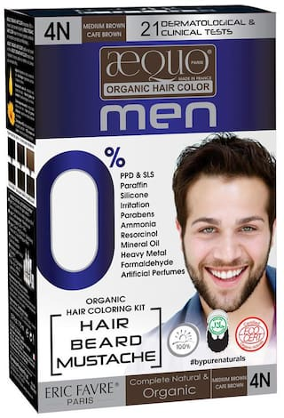 Aequo Organic Men 4N Medium Brown Hair Colour-170ml- Derma Certified