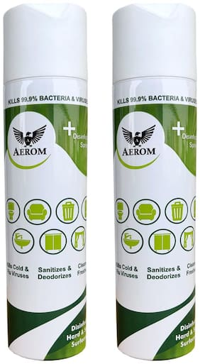 Aerom Disinfectant Sanitizer and Deodorizer Spray 310 ml Each (Pack of 2)