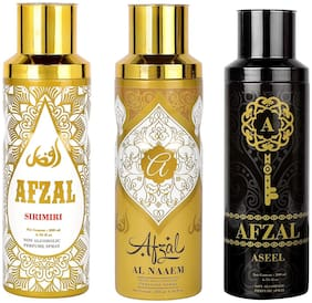 AFZAL Premium Combos Deodorants Sirimiri, Naaem and Aseel 200 ml Each ( Pack of 3 )