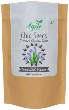 Agile Organic Authentic Raw Chia Seeds 500g (Premium Quality)