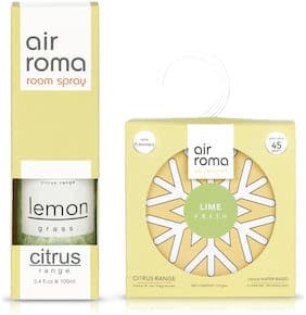 AIR-ROMA Lemon Grass Air Freshener Spray 100 ml & Lime Fresh Gel Air Freshener 110 g (Pack of 2)