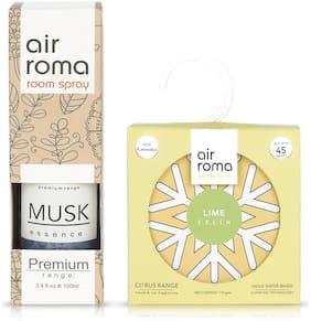 AIR-ROMA Lime Fresh Gel Air Freshener 110 g & Musk Essence Air Freshener Spray 100 ml (Pack of 2)